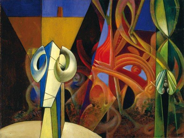 Dies ist eines von fünf Bildern von Max Ernst, die für ein Jahr als Leihgabe der Menil Collection zu sehen sind.